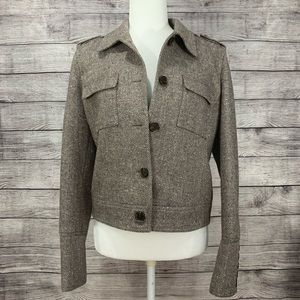 Michael Michael Kors Cropped Brown Tweed Blazer